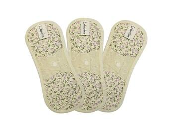 "7.5"" Organic cotton cloth menstrual pads / cloth sanitary napkins / cloth pads starter set / cloth pads set - 3 Panty liners (Purple erin)"