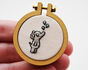 Elephant Brooch Miniature Hand Embroidery Hoop 4cm