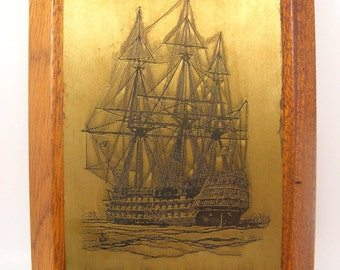 Vintage Nautical Brass Etching, Engraved Plaque, Tall Ship, English a Capital Ship of 1820, Wall Hanging, Wooden Picture