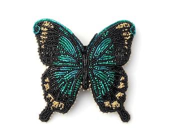 Beaded Butterfly Barrette, Sea Green Swallowtail Butterfly Barrette, Bead Embroidered Hair Jewelry, OOAK Blue Green Butterfly Hair Ornament