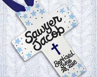 Baptism Gift - Dedication Gift - Personalized Cross - Cross - Baptism - Stars - Cross with Stars - Godson - Christening Gift - Godmother