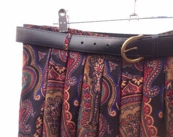 Vintage Skirt | Paisley Print | Pleated