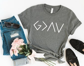 God is Greater Than The Highs and Lows Graphic Tee, Christian Shirts, Fall Shirt, Baptism Gift, Mom Tees, Faith, Church, Quote T-Shirt, Love