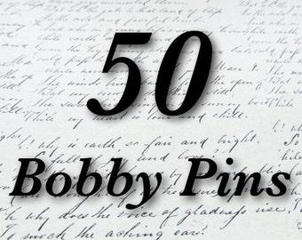 50 silver hair pins, bobby pins 8mm pad