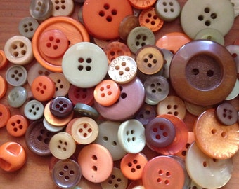 Orange, Beige, Olive Green, Brown Button Mix