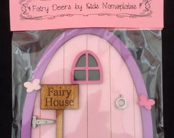 Fairy Door Arch Shape Light Pink Door with Purple Frame