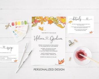 CUSTOM Fall Wedding Invitation set, Fall leaves, Autumn leaves, Heart, RSVP Details Cards, Printable, Digital files, Autumn Dream Collection