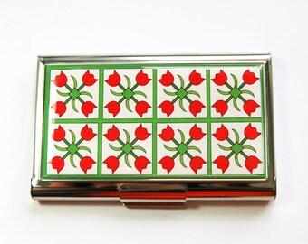 Quilting Needle case, Sewing Needle case, Sewing supplies, Tulips, Needle holder, Needle case, Needle organizer, Red, Green (4006)