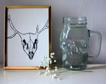 Deer skull, framed art, golden frame, wild nature art