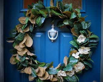 """Large Farmhouse Style Magnolia Wreath, Leaves with Blossoms, Wire Frame 32"""""""