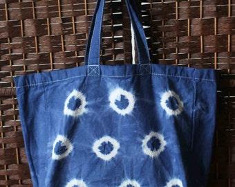Blue tie dye cotton tote bag