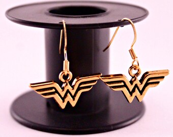 Gold Wonder Woman Pierced Earrings Hypoallergenic