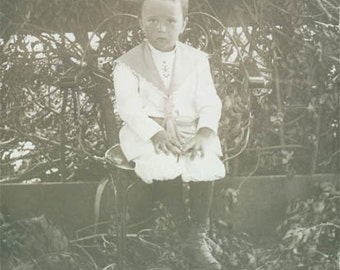 Sailor Boy Lee Button Boots Real Photo Postcard original vintage photo