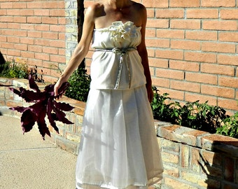 Wedding Top-Wedding Dress Top-Two Piece Wedding Dress-Wedding Separates-Le Bonjour Ruffled Jeweled Beaded Belt Top-Chic Modern Bride