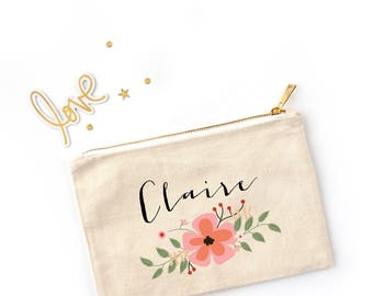 Floral Personalized Cosmetic Bag // Custom Makeup Bag //Clutch with Name and Flowers // Flower Bunch / Bridesmaid Gift / Bachelorette Gift