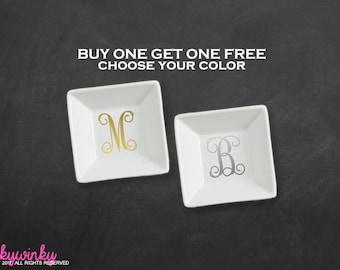 Monogram Jewelry Dish Monogram Ring Dish, Personalized ring dish, Monogrammed ring dish, Monogram ring holder, Buy One Get One Free (RD0001)