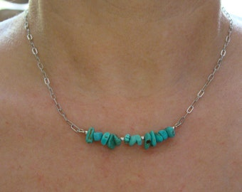 Turquoise Necklace with Sterling Silver Findings and Stainless Steel Chain