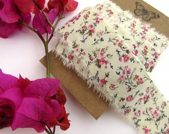 Floral Cotton Craft Ribbon - Shabby Style Gift Wrap Ribbon - Liberty Style Cottage Chic Tape - 2m