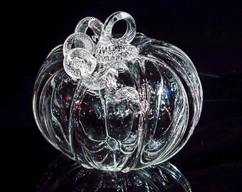 Crystal Clear Glass Pumpkin-Handmade in Corning, NY Steuben County