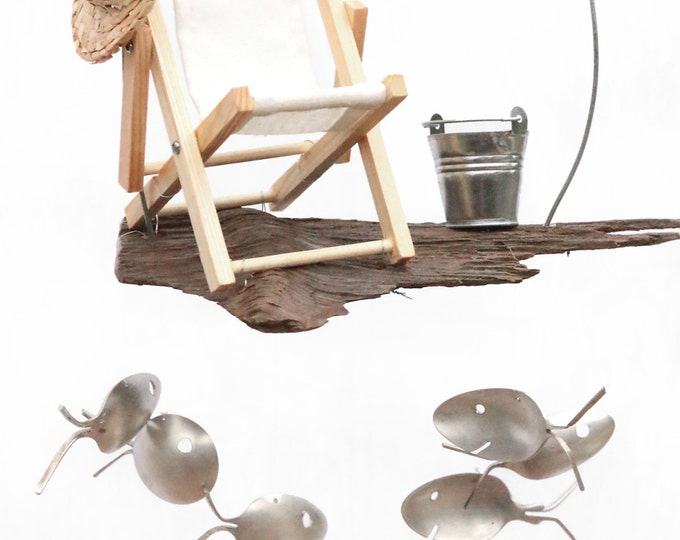 Beach Wind Chime, Sand And Sun, Canvas Sling Chair, Galvanized Pail, Real Driftwood, Silver Plated Spoon Fish, Small Straw Hats, Relaxation