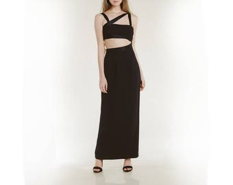90s cut out dress / maxi length / stunning and rare black dress