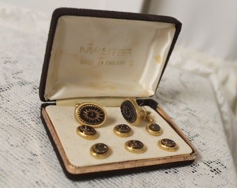 Antique  Gold Cufflinks Studs 9 Piece set, 18 kt 14 kt Taille D'Epargne Cufflinks Studs, Groom gift, Fine Men's Gold Estate Jewelry