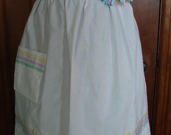Crisp white apron - with rainbow ribbon trim