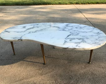 Mid Century Modern Kidney Shaped Coffee Table Marble Top