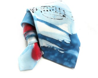 Musical Tie. Gift for Him. Hand Painted NeckTie. Blue Red Men Tie. OOAK Silk Tie. Silk Neck Tie. Birthday Anniversary Gift. MADEtoOrder