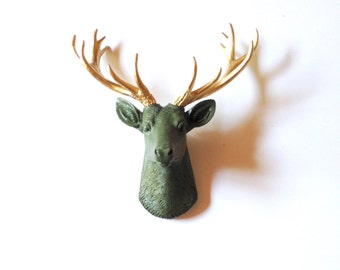 CAMPER GREEN GoLD, SMALL Faux Taxidermy Deer Head wall mount, Stag wall hanging, Deer Wall Art, Mini Faux Taxidermy Deer, Small Faux Animal