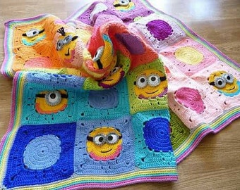 Crochet baby blanket PATTERN with minions motifs, baby throw ,crochet granny square baby crib bedding,minions baby blankie