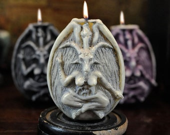 "Baphomet ""Sanctify"" White/Silver Naturally Scented Vegan Soy Candle for Clearing Negative Energy, Cleansing Ritual Space"