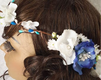 Crown headband set in Bohemian bun half head
