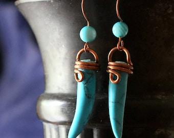 Tribal Bohemian Earrings, Lightweight Boho Style Bohemian Hippie Gypsy Tribal Blue Turquoise Tusk Copper Earrings Jewelry Gifts For Women