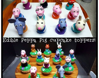 Set of 12 edible Peppa Pig character cupcake toppers
