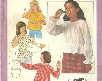 Simplicity 8327 Girls Vintage 70s Bell Sleeve Peplum Peasant Blouse Sewing Pattern Size 8 - 10   Jiffy & Easy to Sew