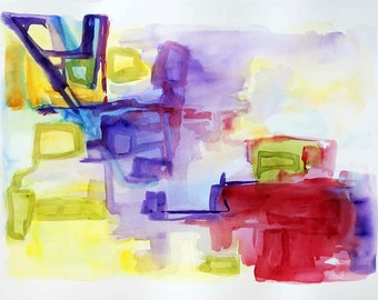 SALE large watercolor abstract, original abstract painting abstract art original painting original yellow purple red green blue wall art