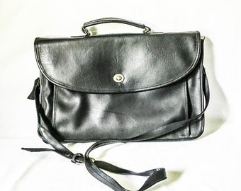 Black leather laptop bag - Black leather briefcase - Leather Messenger bag - Lorenzo leather laptop bag - Briefcase laptop shoulder bag