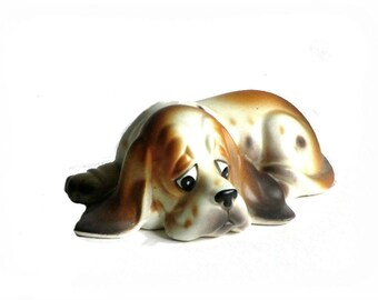 Bassett Hound Dog Napcoware Figurine Sad Eyes Long Droopy Ears Gift for Dad Animal Lover