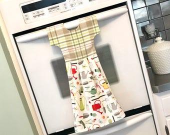Garden Theme Kitchen Towel Dress, Hanging Dish Towel, Tea Towel / Multicolor Dishtowel Dress, Hostess Gift, Kitchen Decor/ Klosti