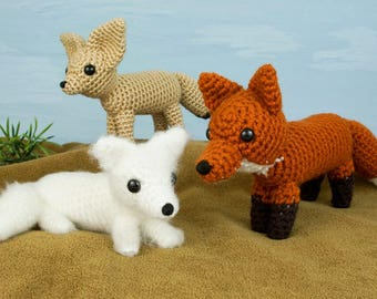 PDF Red, Arctic and Fennec Foxes - three amigurumi CROCHET PATTERNS