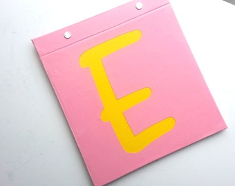 Race Bib Holder - Initial Personalization - One Letter - Hand-bound Book for Running bibs - Pink and Yellow