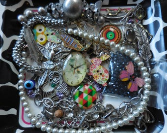 Mix LOT Charms Necklaces Chain Cabochons Funky and Fun grab bag lot DIY Jewelry Making Supplies Destash Assemblage Upcycle