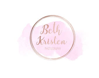 Pre-made logo / watermark: rose gold hand written script pink watercolor logo 23