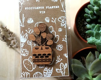 Laser Cut Succulents Planter Pin Brooch |  Round Succulents in Cute Kawaii Head Planter