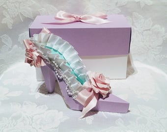 Paper Shoe Keepsake, Pastel with Pink Flowers High Heel 3D Paper Shoe with shoe box,  One of a Kind, READY to Ship, Original Design