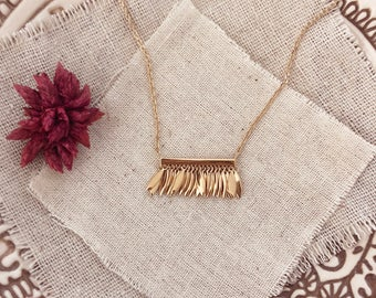 Gold Fringe Boho Layering Necklace / Dainty Bohemian Geometric Charm Necklace - Elegant Modern Gift for Her