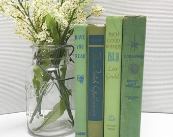 Old Book Set, Green Decor, Green Shelf Decor, Farmhouse Decor
