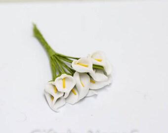Mini calla lilies, 12pc, white craft flowers, millinery flowers, scrapbooking supply, wedding favor decoration, hair flower, mini calla