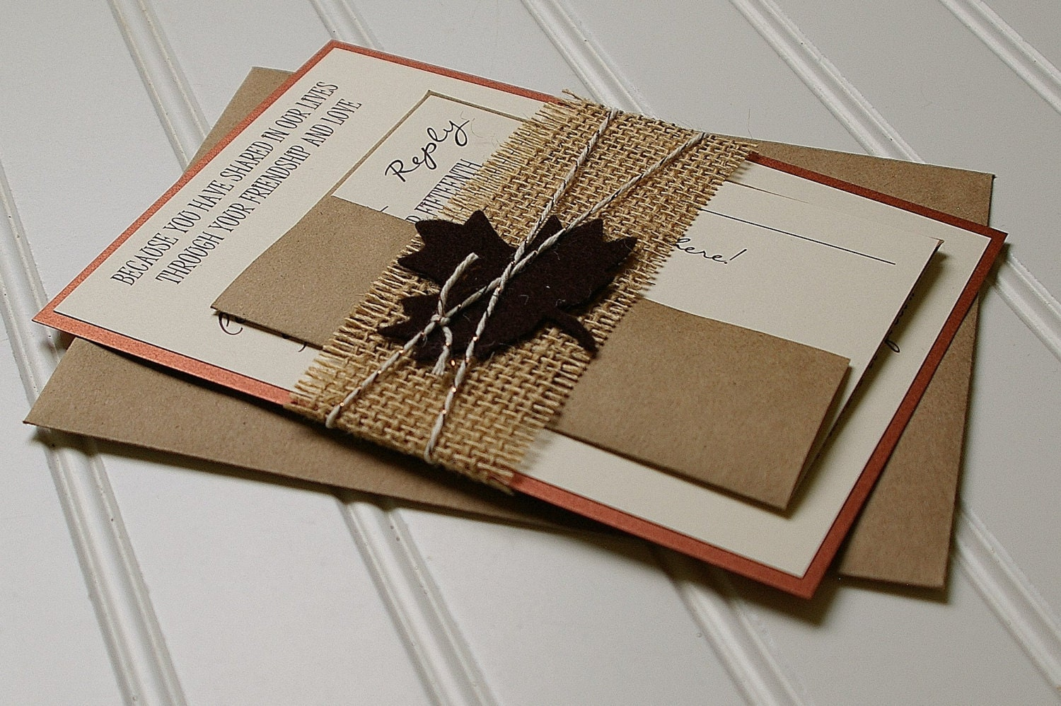 Rustic Autumn Wedding Invitations: Copper Brown and Burlap